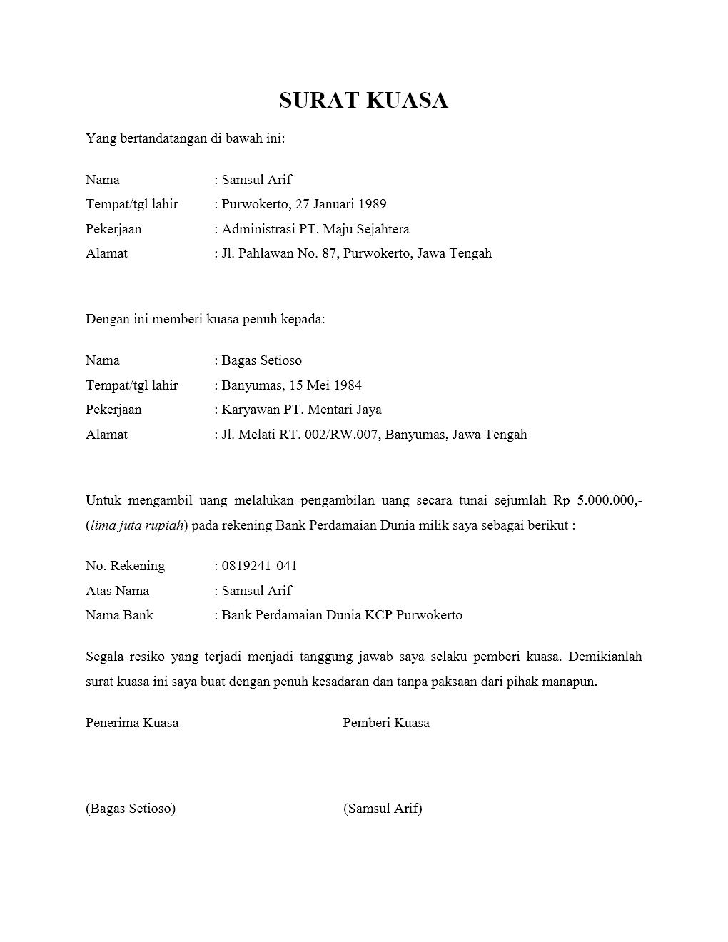19+ Contoh surat kuasa ke bank bri terbaru yang baik