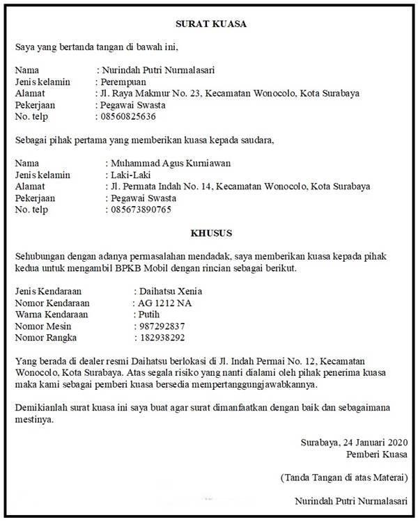 Contoh Surat Kuasa Pengambilan BPKB dengan Detail Khusus