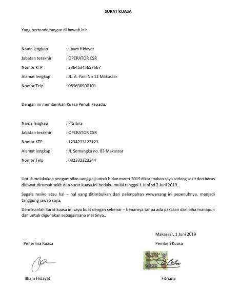 Contoh Surat Kuasa Pengambilan Gaji Karyawan Aktif
