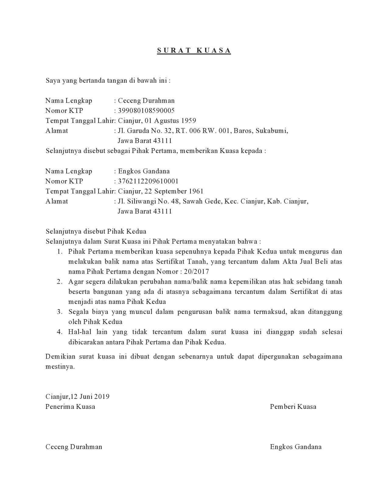 Contoh Surat Kuasa Pengurusan Balik Nama Sertifikat Tanah