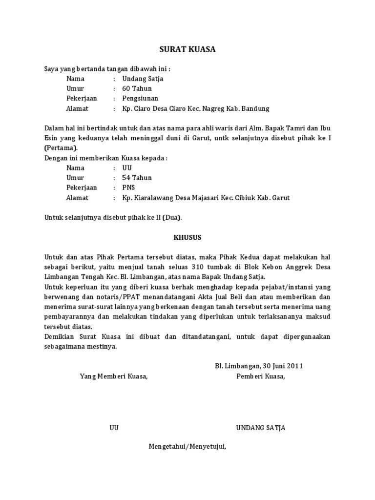 Contoh Surat Kuasa Tanah Dari Notaris