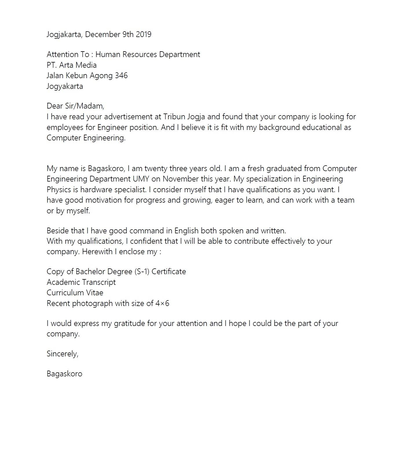 Contoh Surat Lamaran Bahasa Inggris beserta Artinya 3