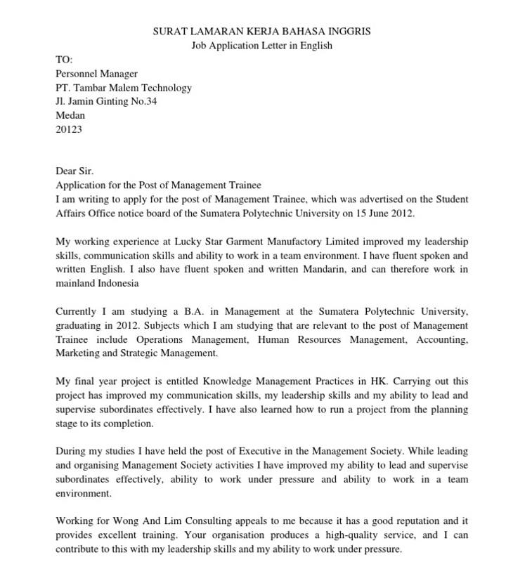 Contoh Surat Lamaran Bahasa Inggris beserta Artinya 4
