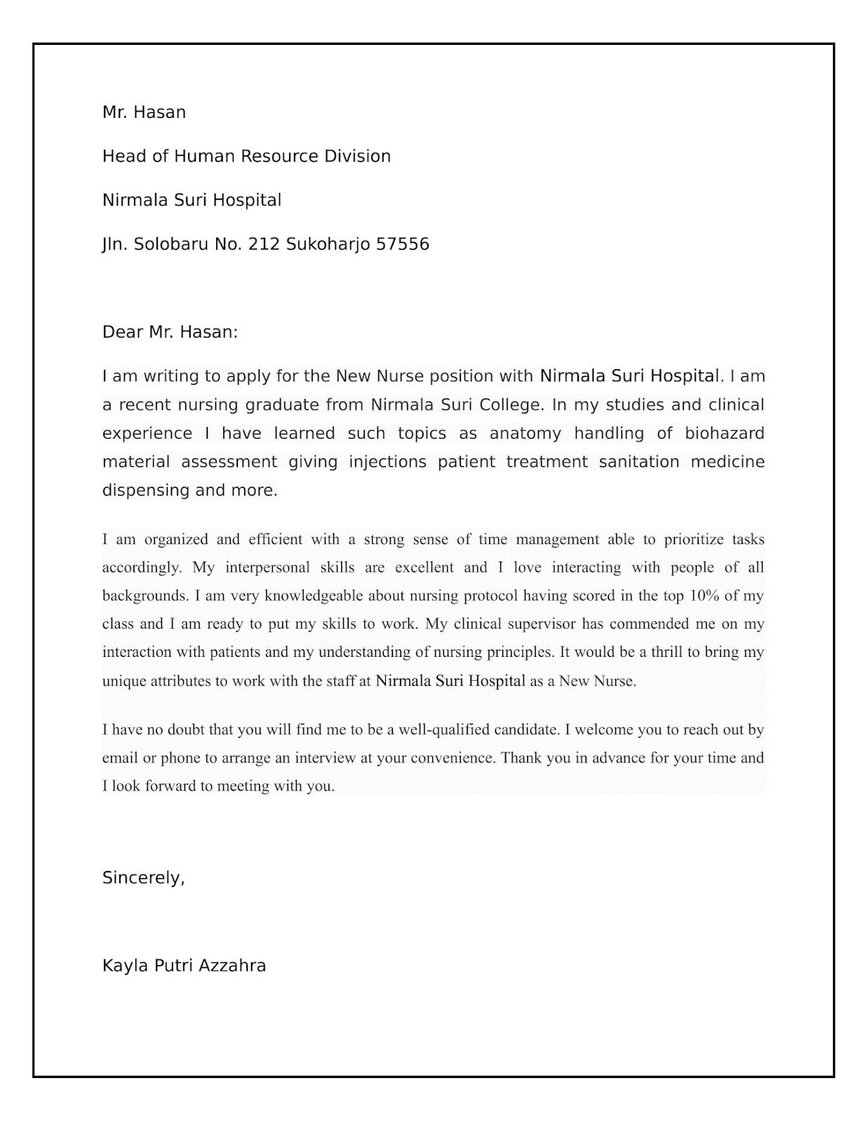 Contoh Surat Lamaran Bahasa Inggris beserta Artinya 7