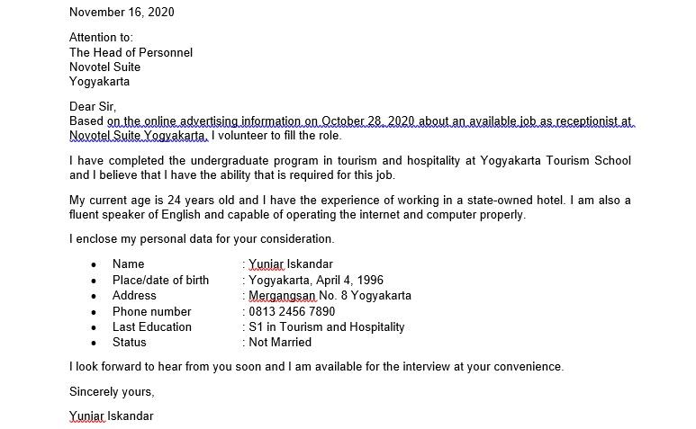 Contoh Surat Lamaran Kerja Bahasa Inggris untuk Hotel 1