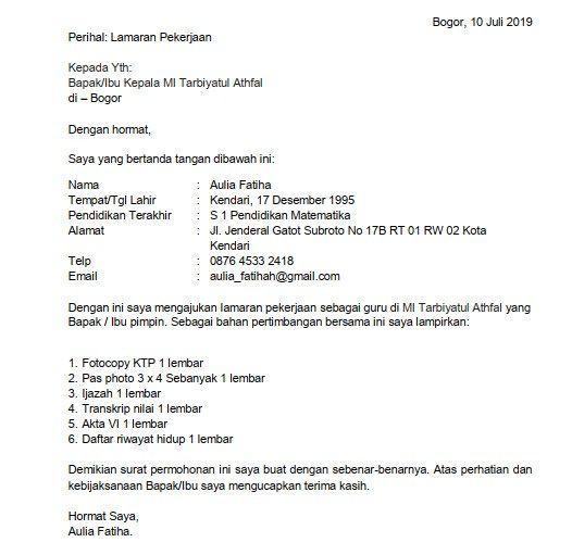 Contoh Surat Lamaran Kerja Guru SD