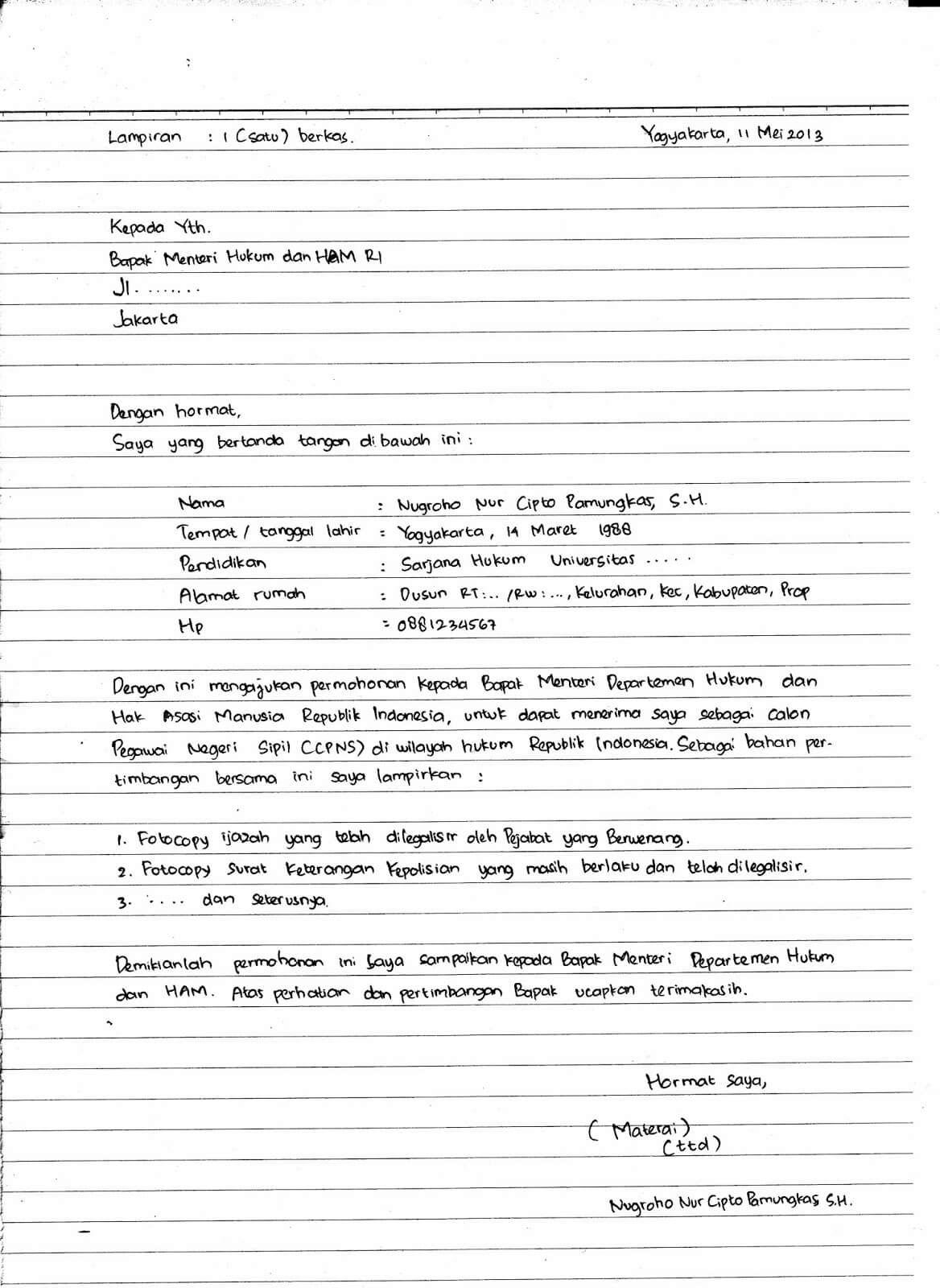 Contoh Surat Lamaran Kerja Tulis Tangan 1