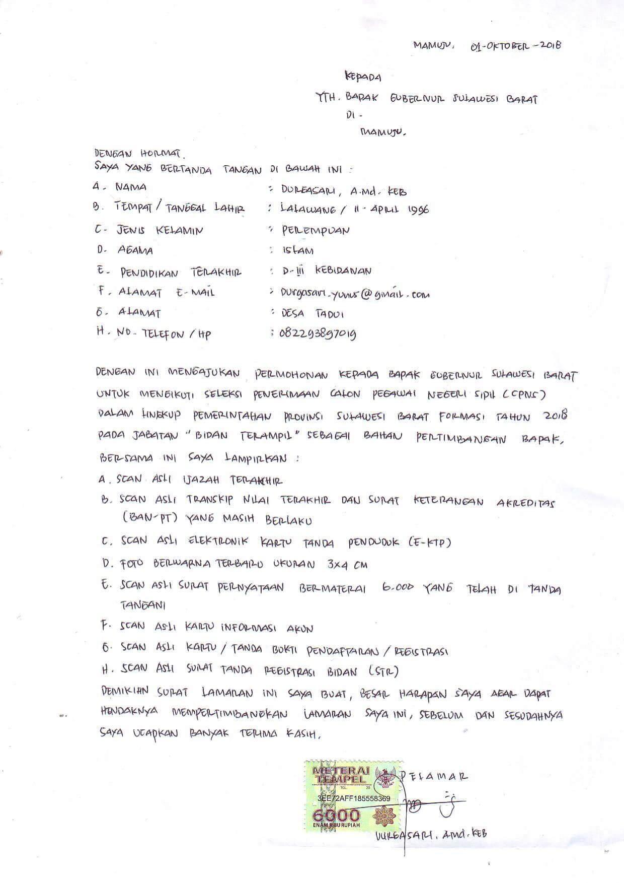 Contoh Surat Lamaran Kerja Tulis Tangan 3