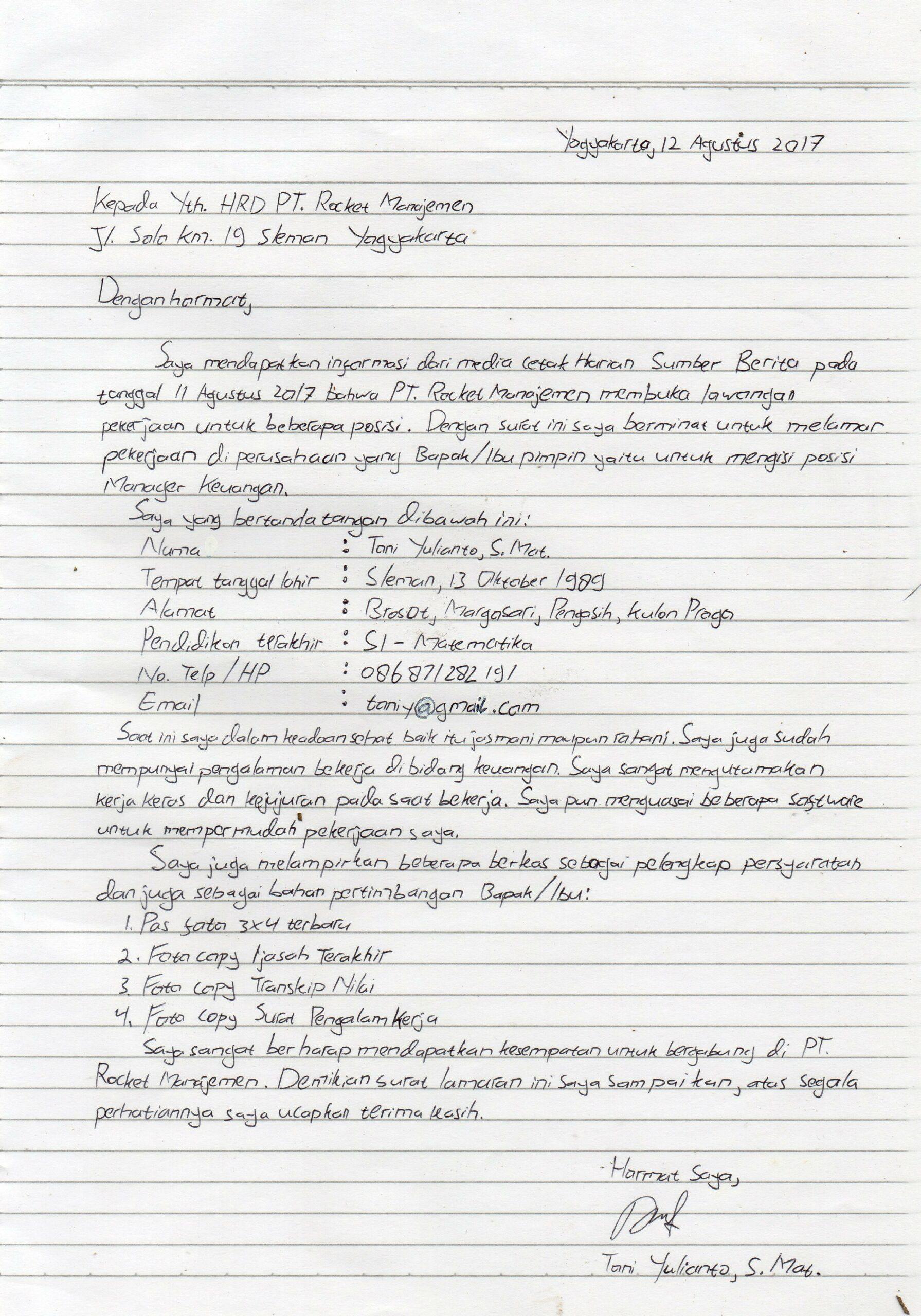 Contoh Surat Lamaran Kerja Tulis Tangan 4