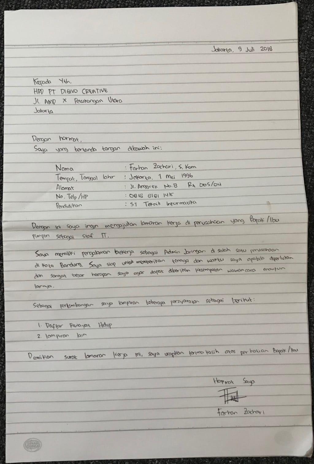 Contoh Surat Lamaran Kerja Tulis Tangan 6