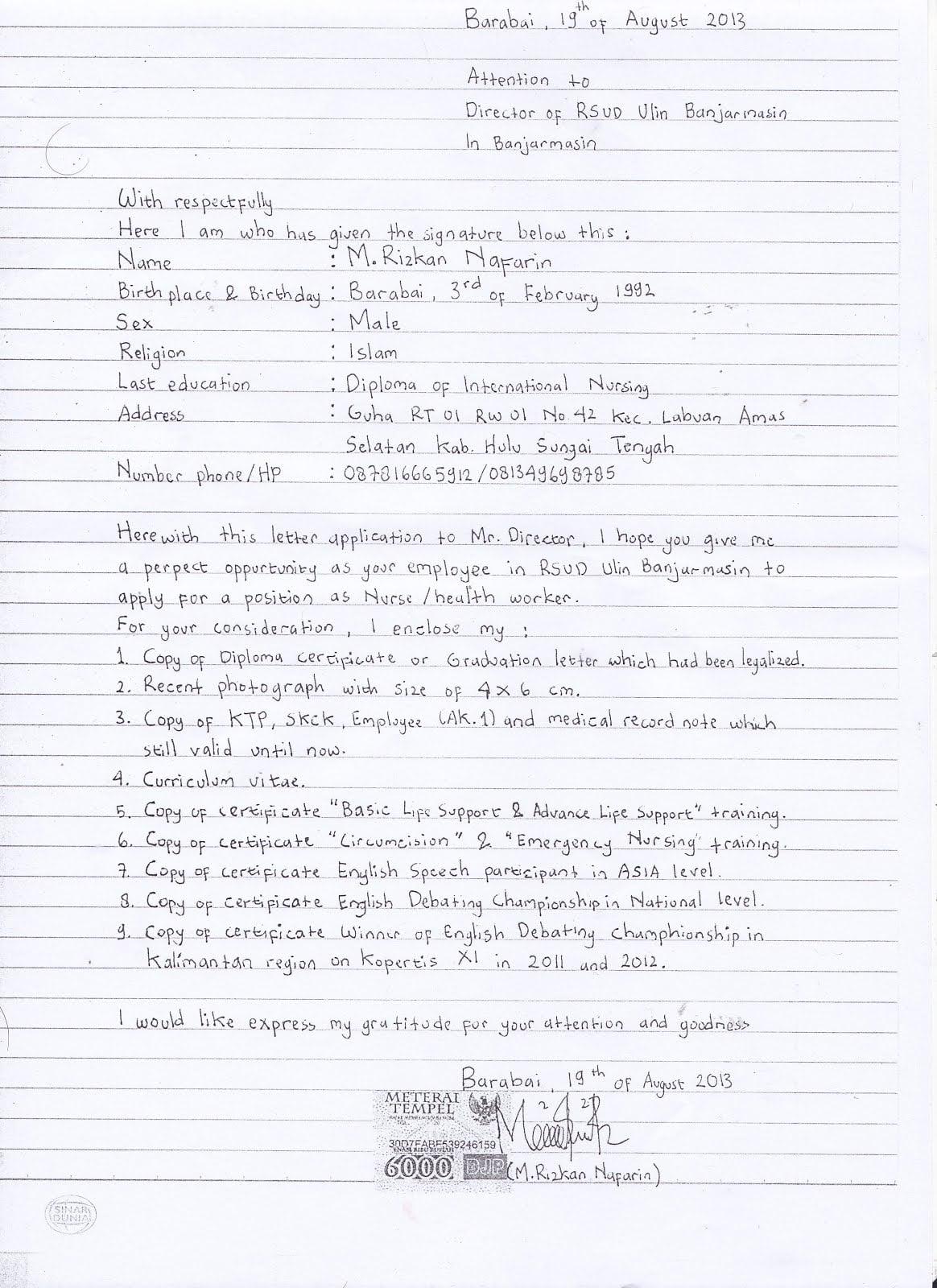 Contoh Surat Lamaran Kerja Tulis Tangan 7