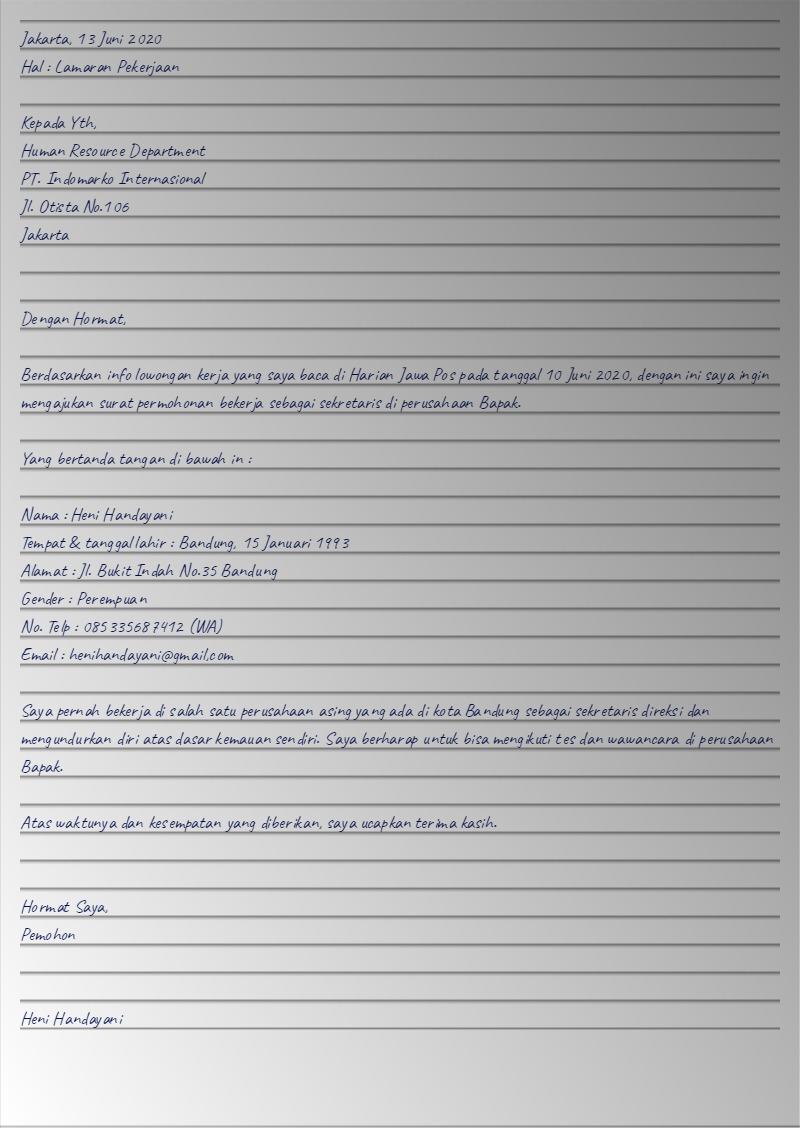 Contoh Surat Lamaran Kerja Tulis Tangan 9