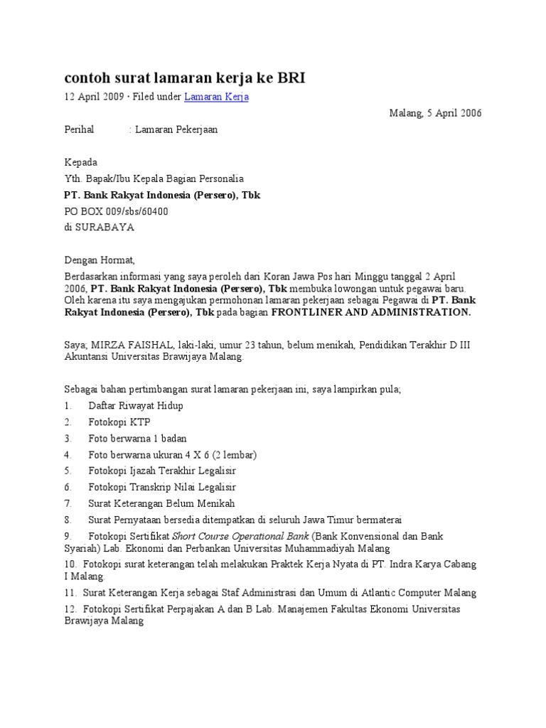 5 Contoh Surat Lamaran Kerja Di Bank Yang Baik Untuk Semua Bank