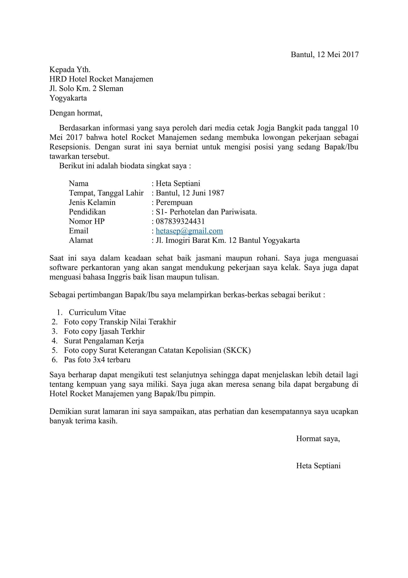 5 Contoh Surat Lamaran Kerja Yang Baik Dan Benar Langsung Di Acc
