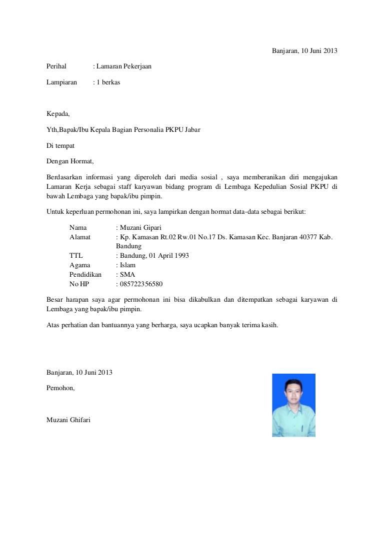 Contoh Surat Lamaran Kerja di PT Jasa Raharja