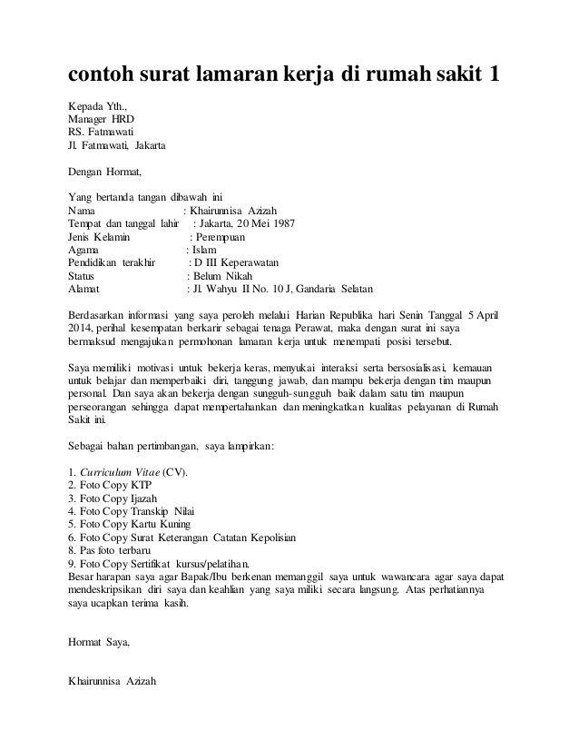 3 Contoh Surat Lamaran Kerja Di Rumah Sakit Semua Bagian