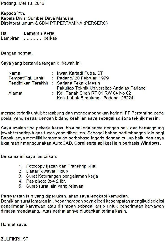 Contoh Surat Lamaran kerja di PT Pertamina