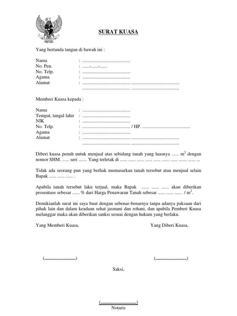 Karakteristik Surat Kuasa Tanah