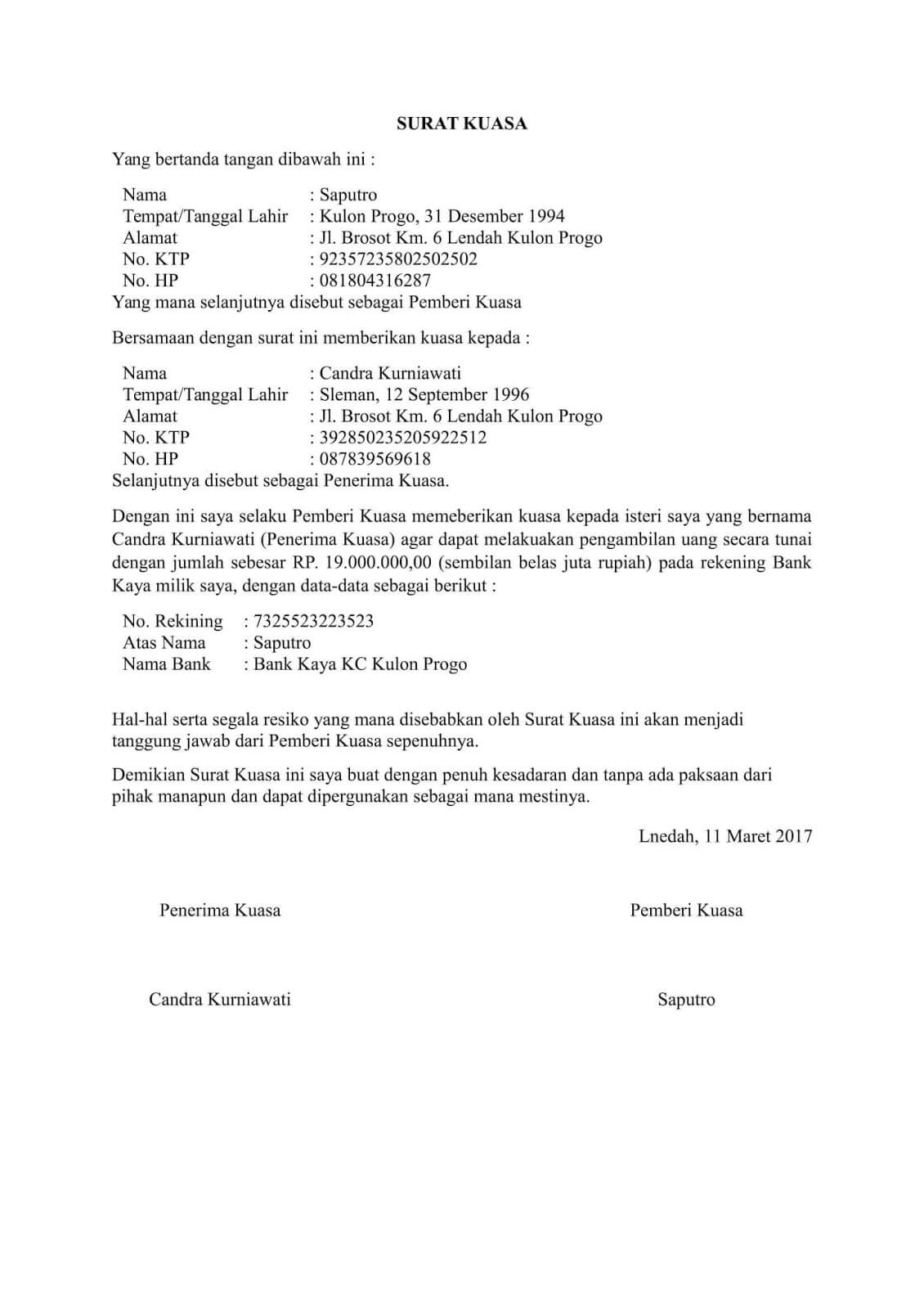 Surat Kuasa Pengambilan Uang di Bank Mandiri