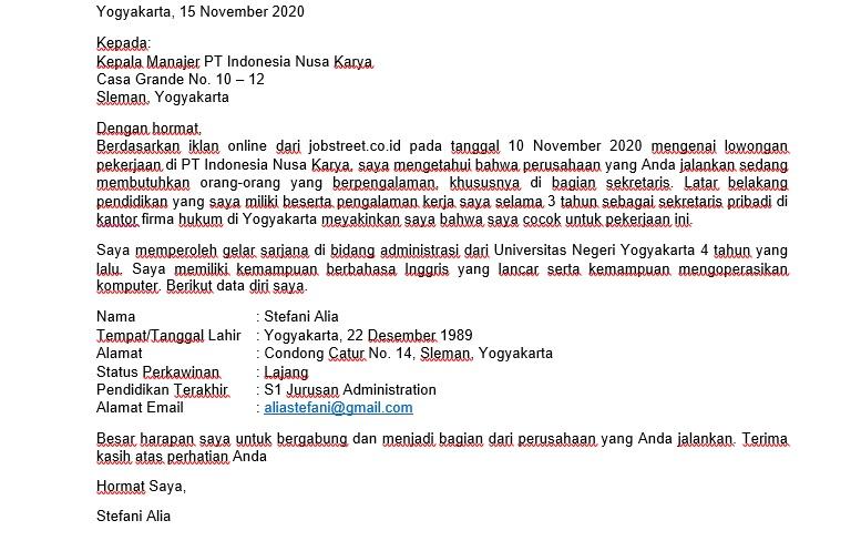 Terjemahan Contoh Cover Letter Bahasa Inggris untuk Posisis Sekertaris
