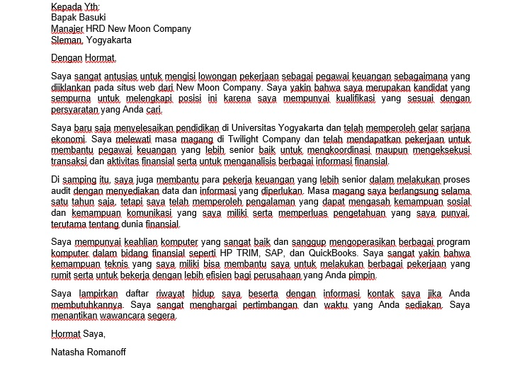 Terjemahan Contoh Surat Lamaran Kerja Bahasa Inggris Bagian Keuangan