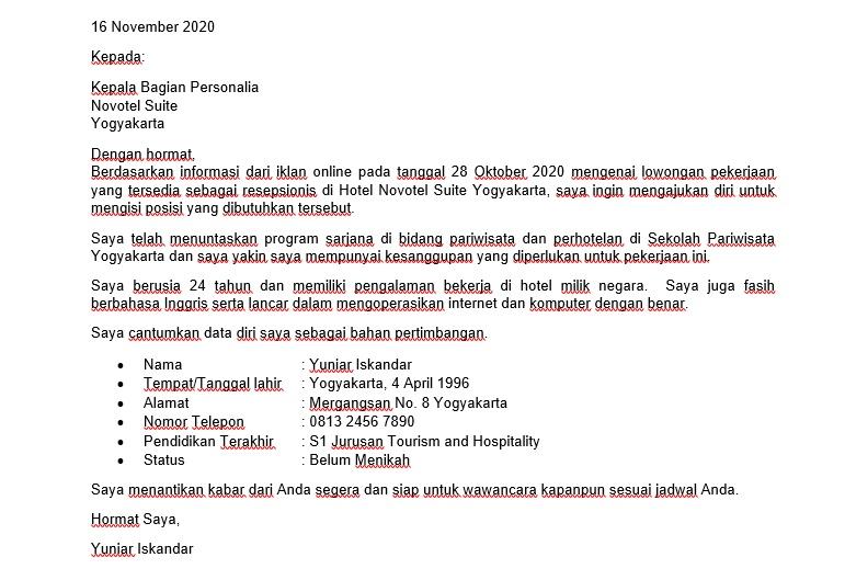 Terjemahan Contoh Surat Lamaran Kerja Bahasa Inggris untuk Hotel