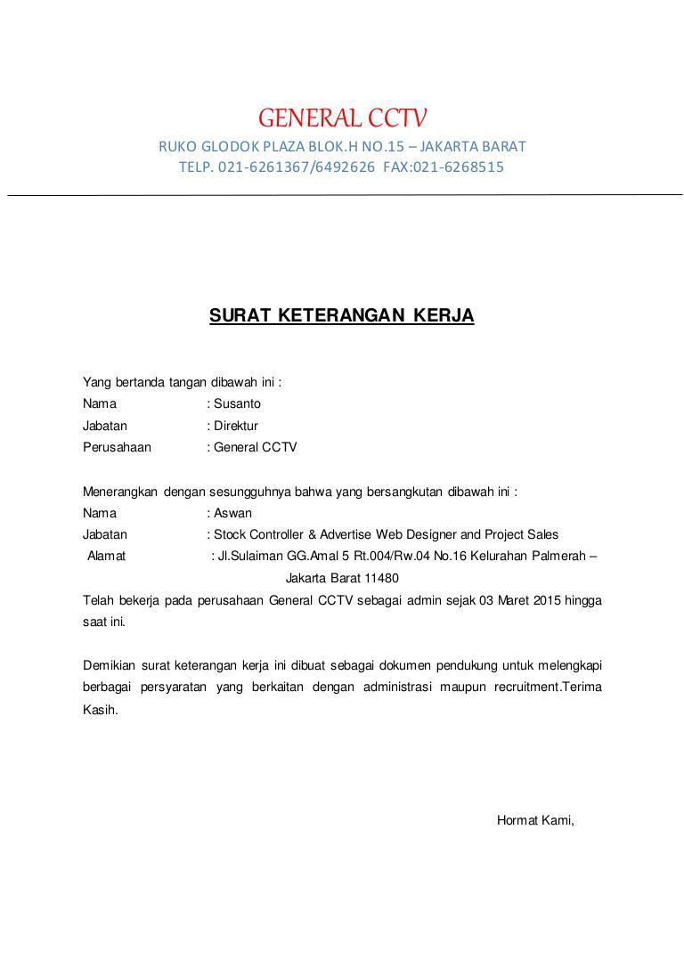 Contoh Surat Pengalaman Kerja Administrasi