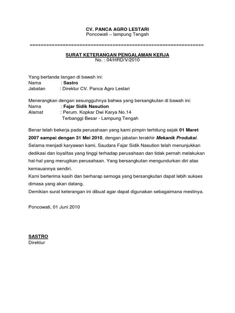 Contoh Surat Pengalaman Kerja Kontraktor