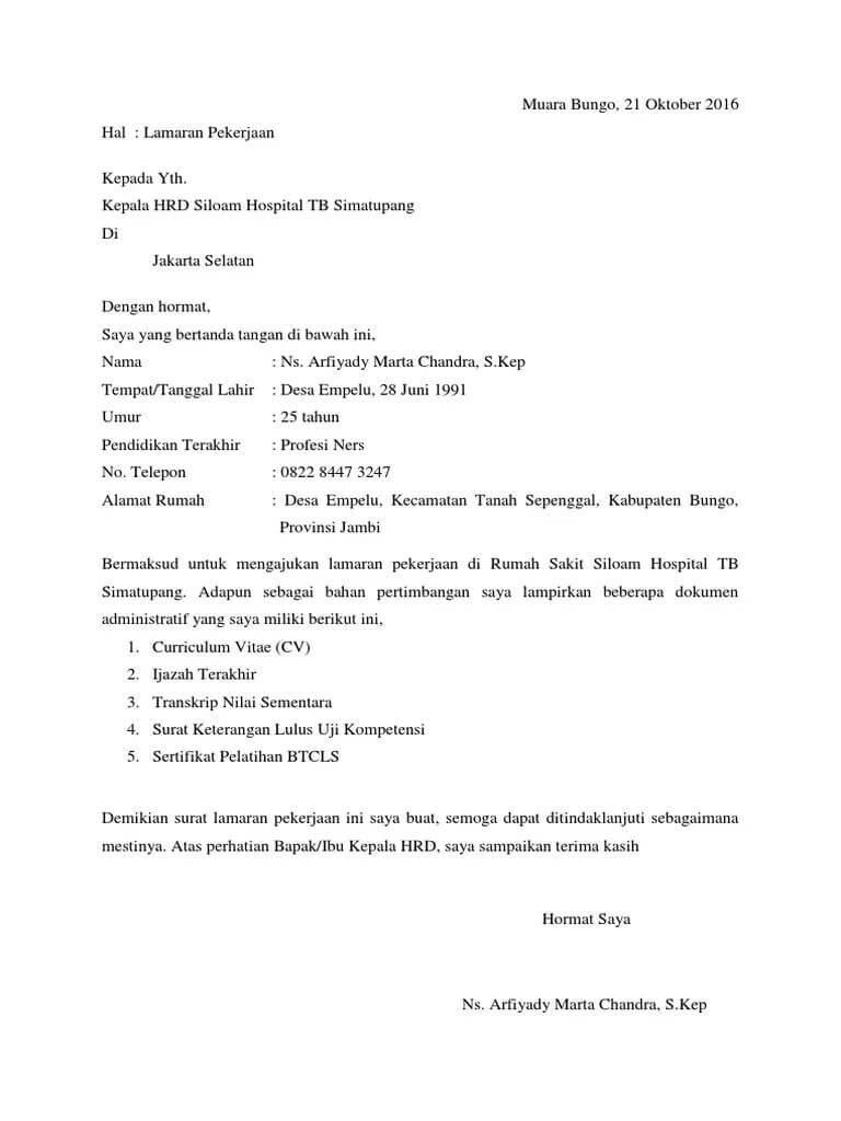 Contoh Surat Pengalaman Kerja di Rumah Sakit