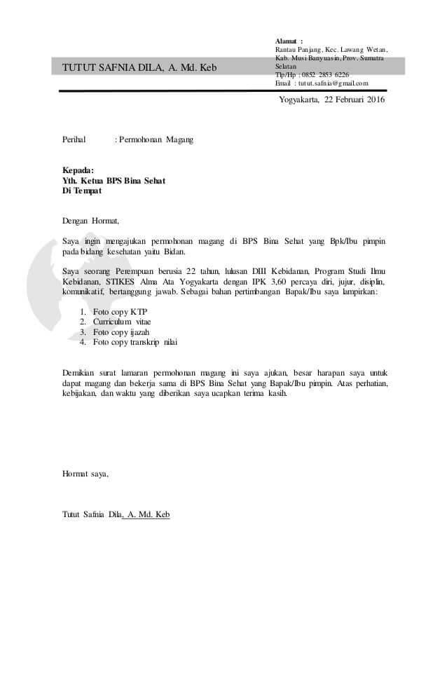 Contoh Surat Permohonan Magang