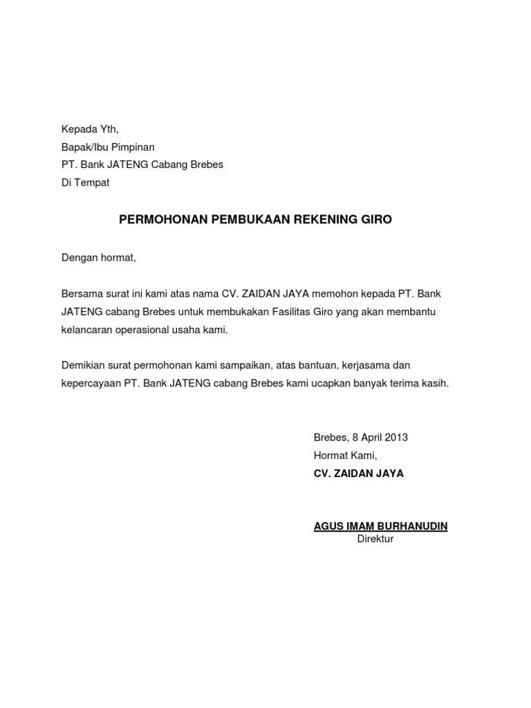 Contoh Surat Permohonan Pembukaan Rekening Giro