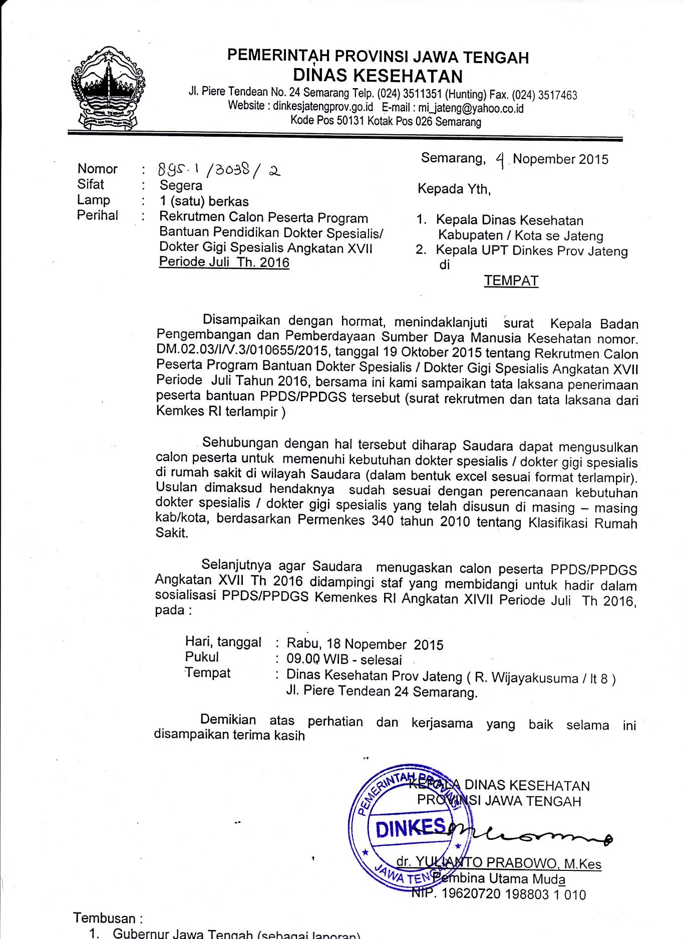 Surat Dinas Instansi Pemerintahan Kesehatan