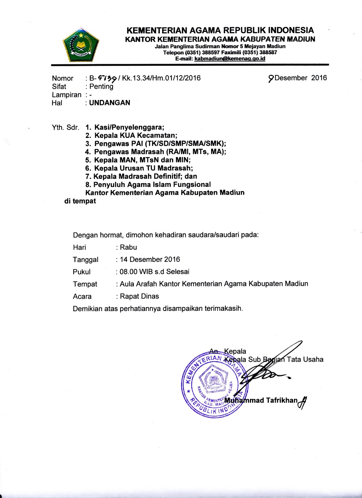 Surat Dinas Kementrian Agama