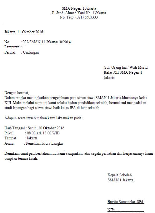 Surat Dinas Resmi dari Sekolah