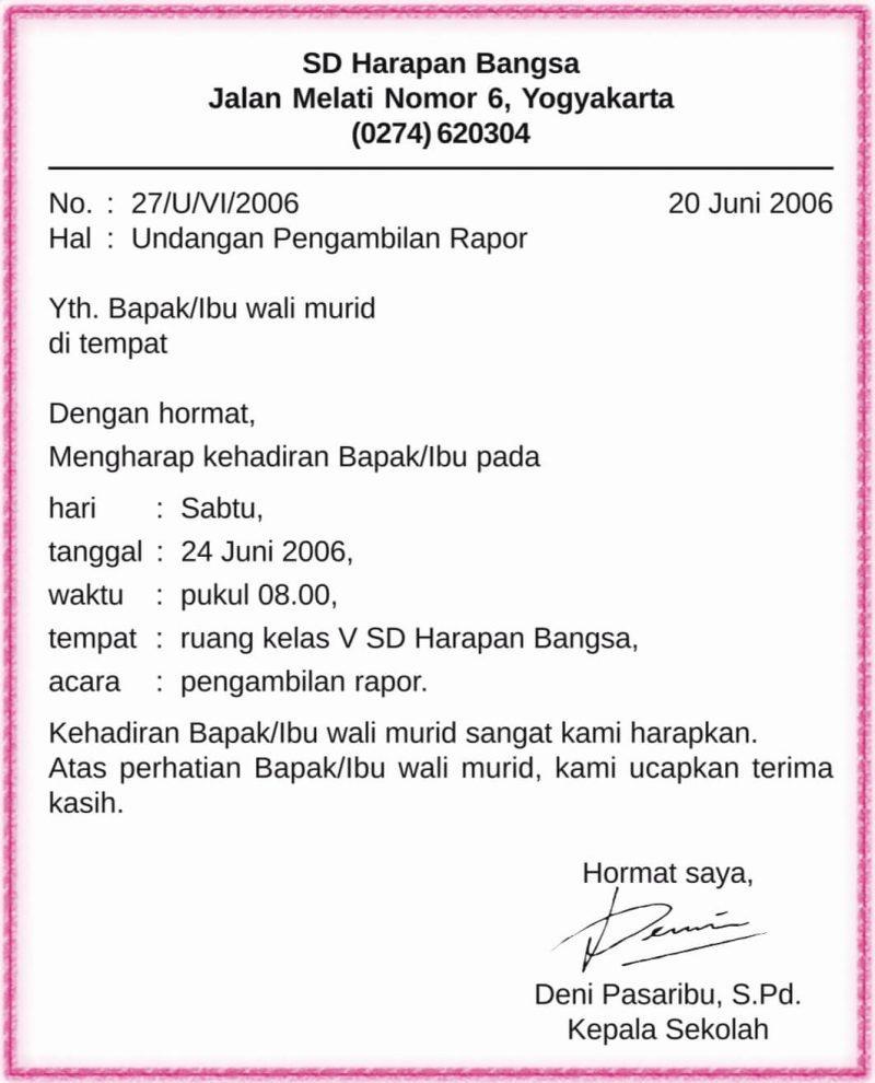 Surat Dinas Sekolah Dasar