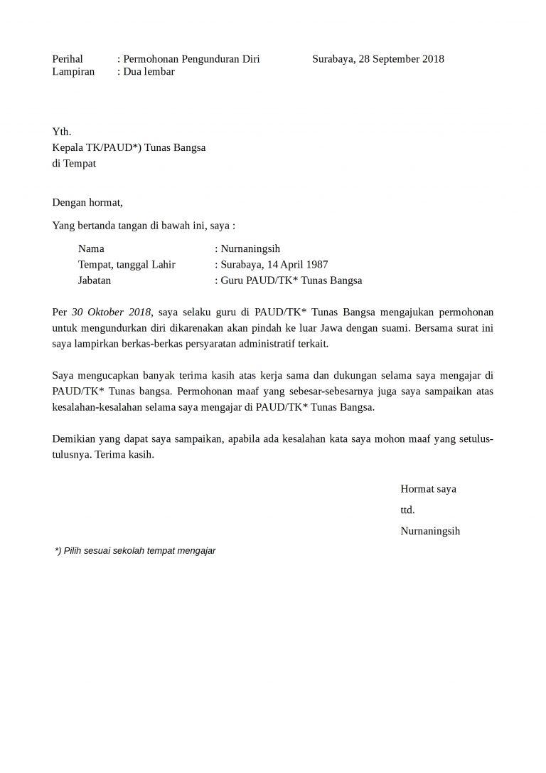 Surat Pengunduran Diri Guru dari Sekolah Yayasan