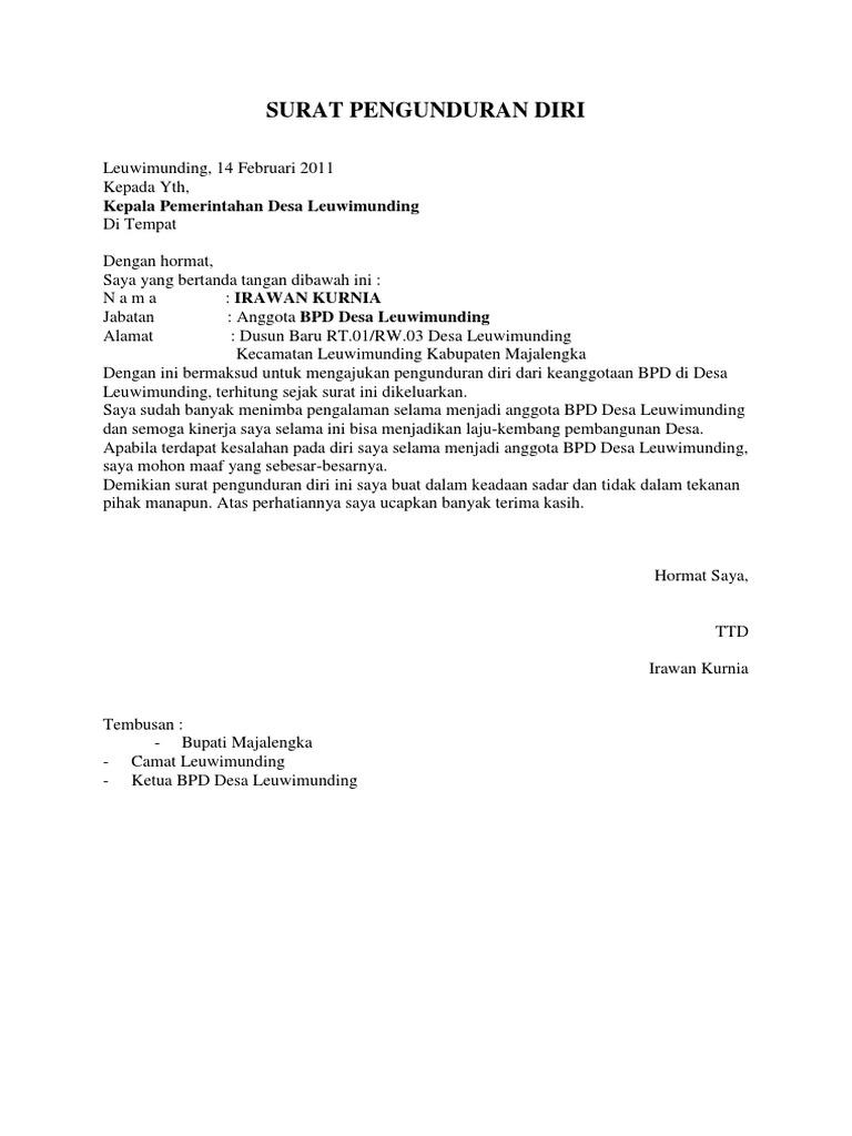 Surat Pengunduran Diri dari Instansi Pemerintah