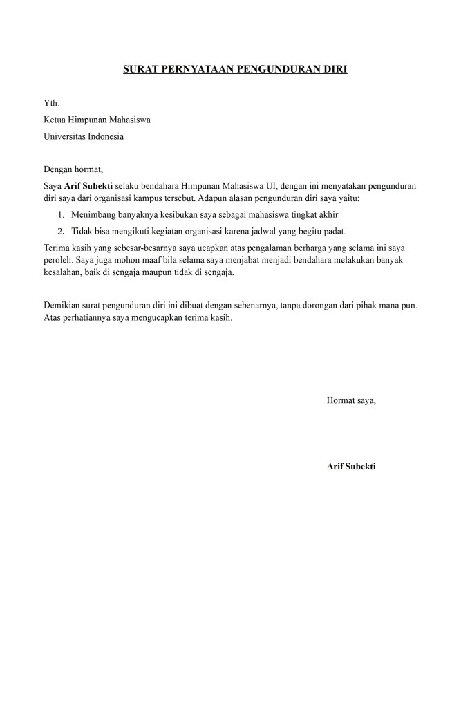 Surat Pengunduran Diri dari Organisasi Kampus