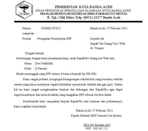 2. Contoh Surat Pemberitahuan Pembayaran 2