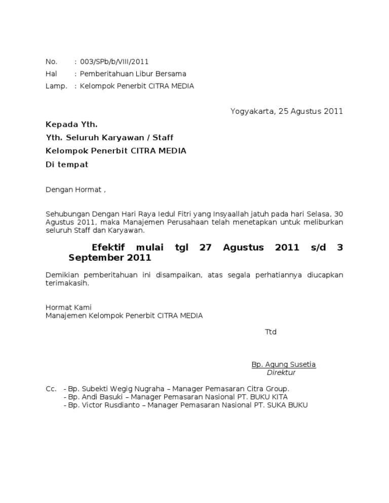 3. Contoh Surat Pemberitahuan Perusahaan Kepada Karyawan 2