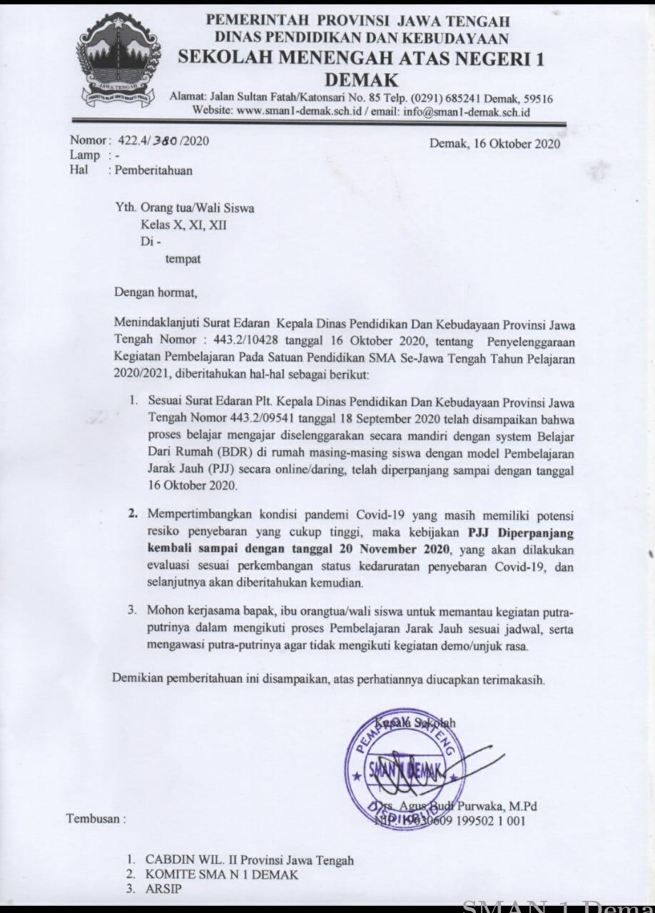 4. Contoh Surat Pemberitahuan Wali Murid 1