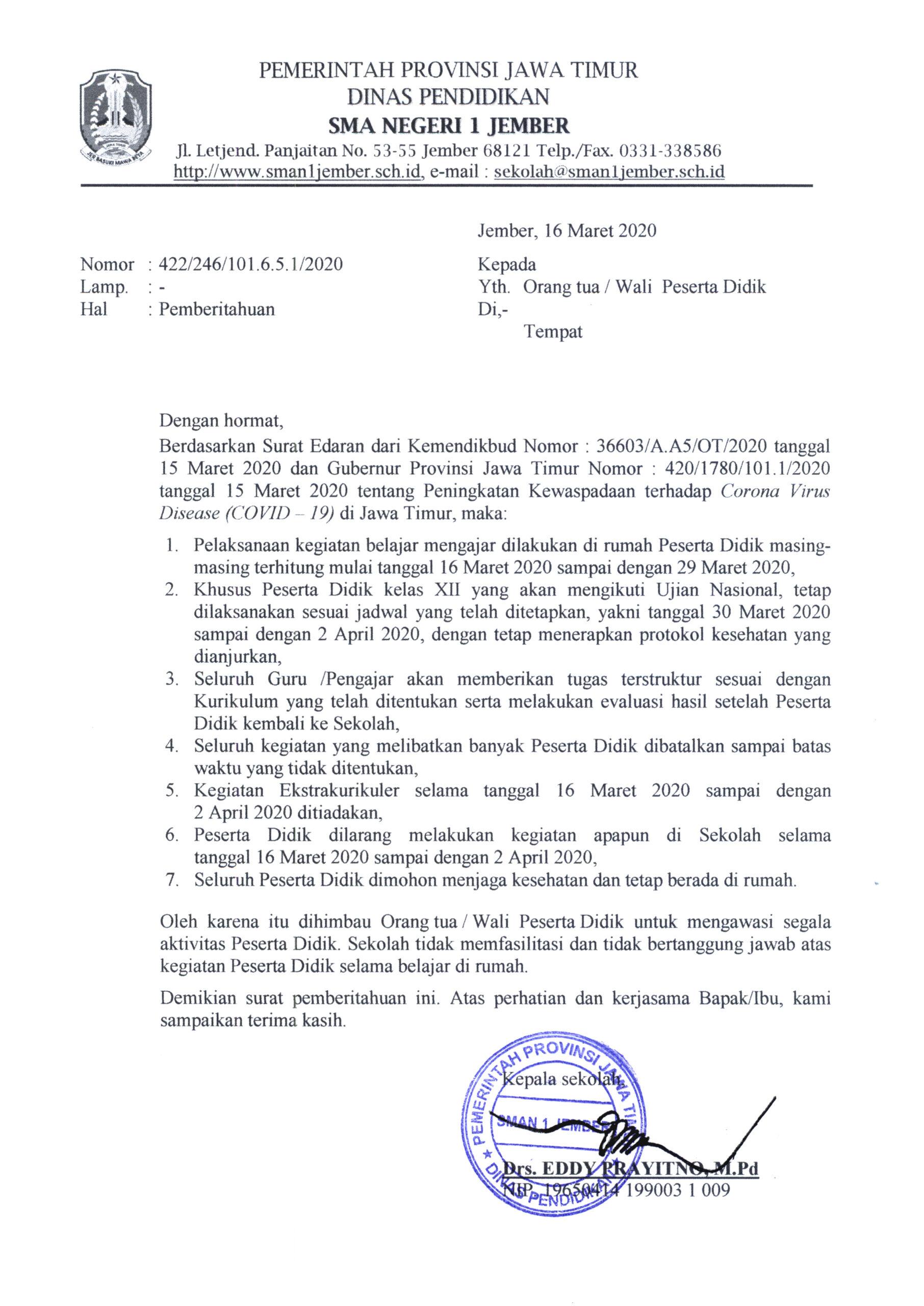 4. Contoh Surat Pemberitahuan Wali Murid 2
