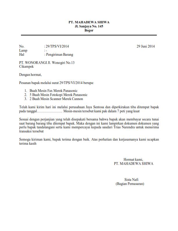 5. Contoh Surat Pemberitahuan Pengiriman Barang 2