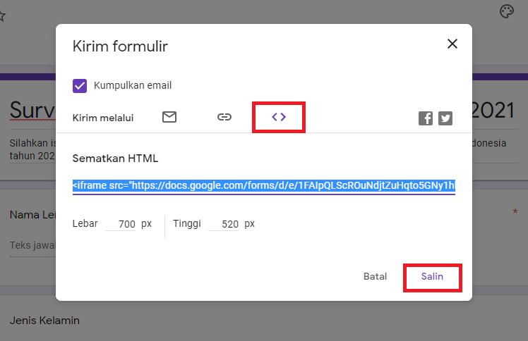 Cara Membagikan Google Form ke Website 1