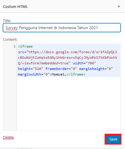 Cara Membagikan Google Form ke Website 4