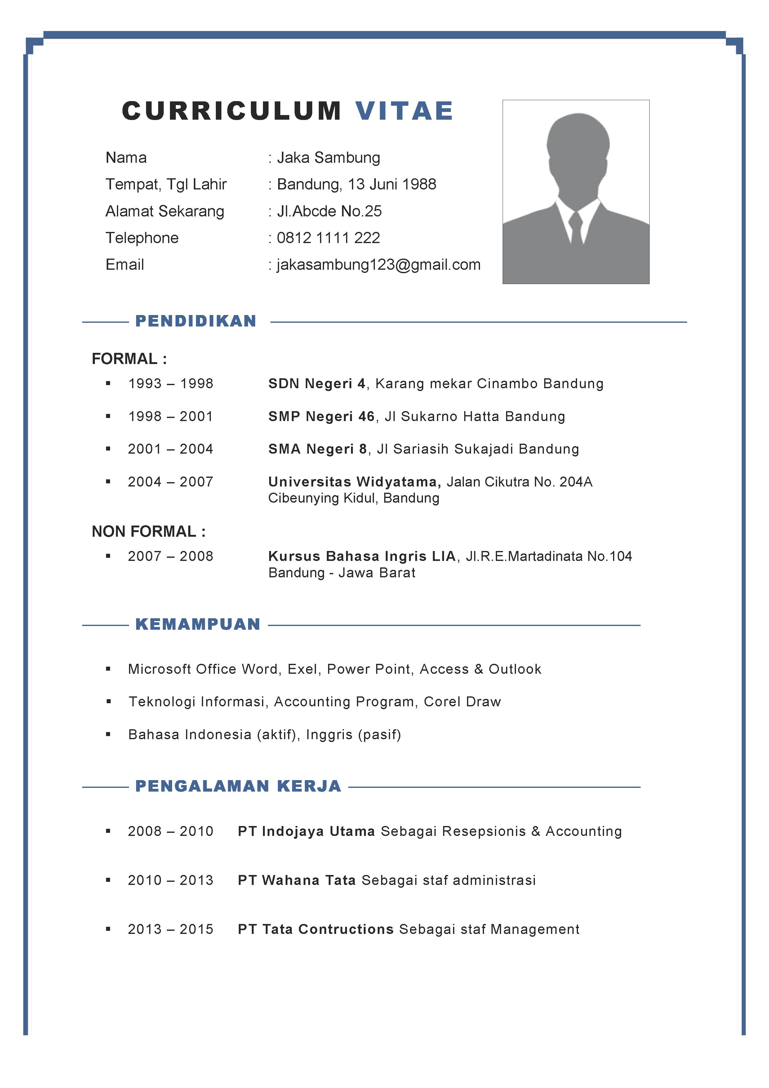 Contoh CV Formal