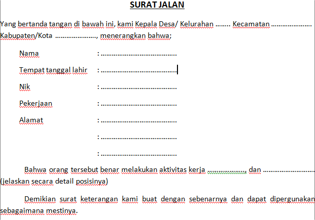 Contoh Surat Jalan dari Desa