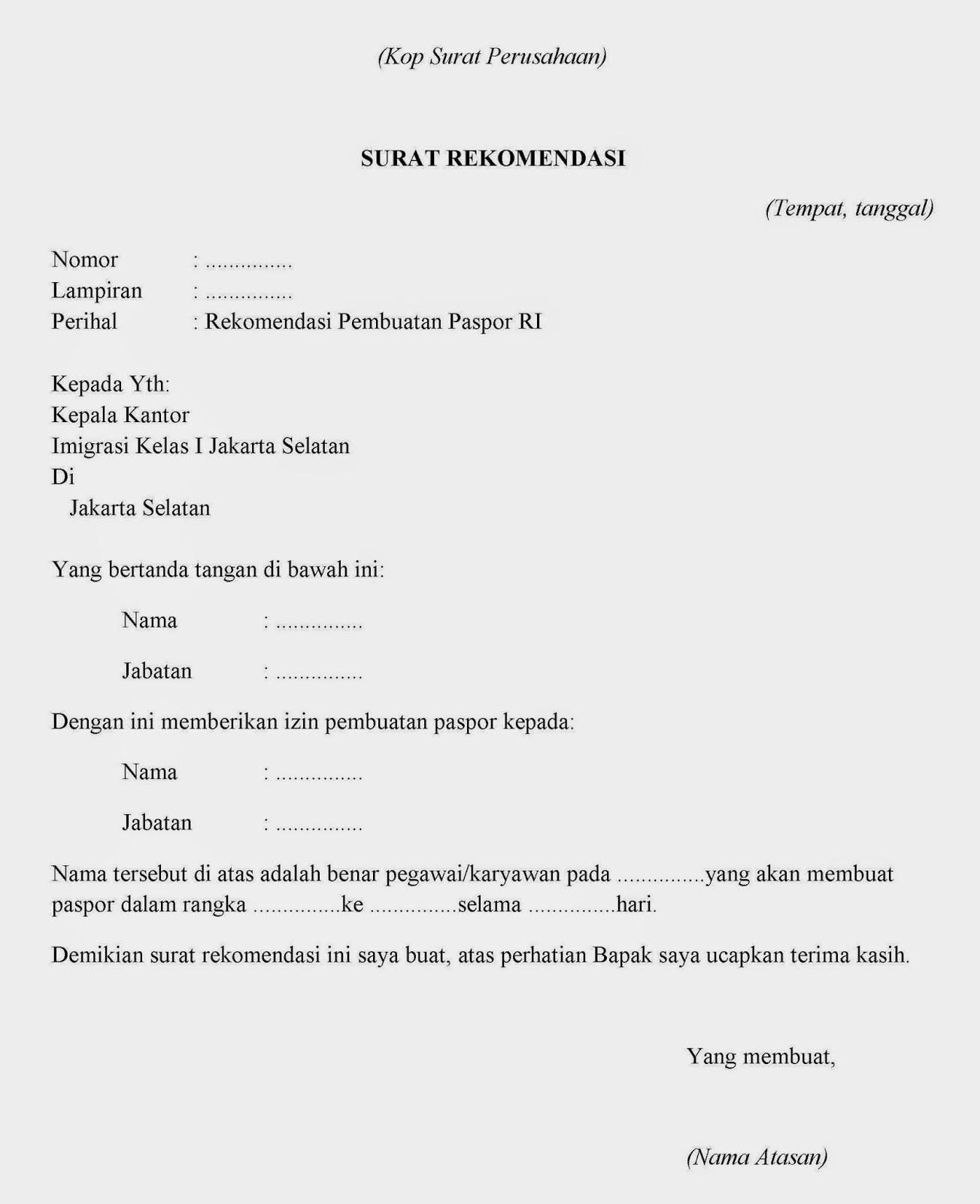 Contoh Surat Keterangan Kerja untuk Paspor
