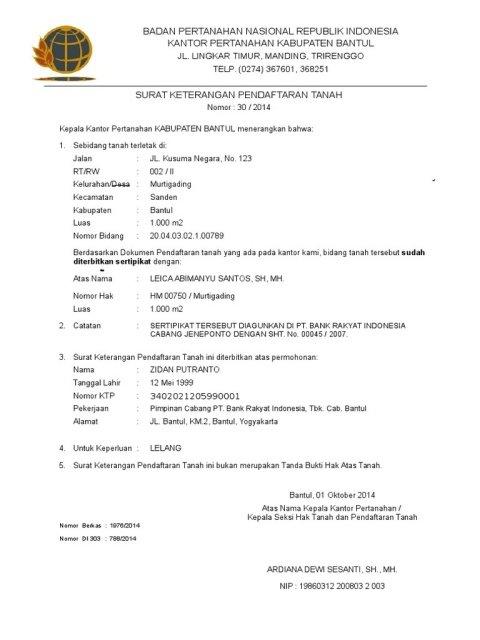Contoh Surat Keterangan Pendaftaran Tanah