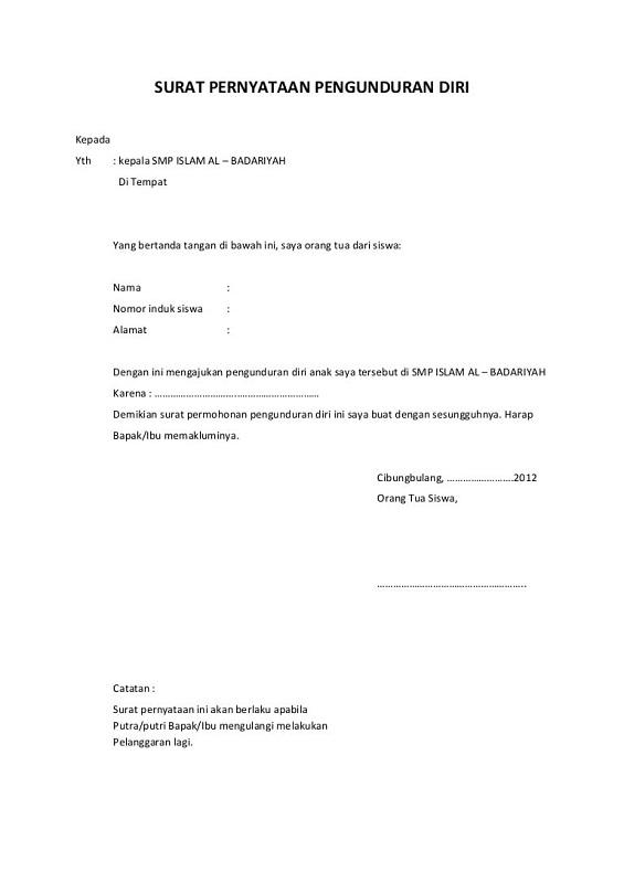 Contoh Surat Keterangan Pengunduran Diri